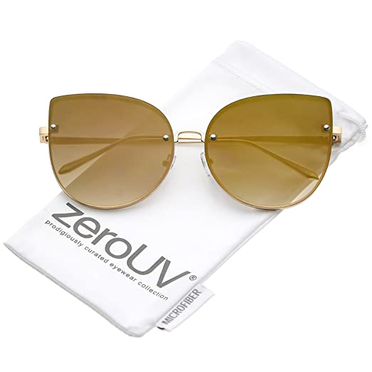 5ad61f0641f zeroUV - Women s Oversize Rimless Colored Mirror Flat Lens Cat Eye  Sunglasses 61mm (Gold