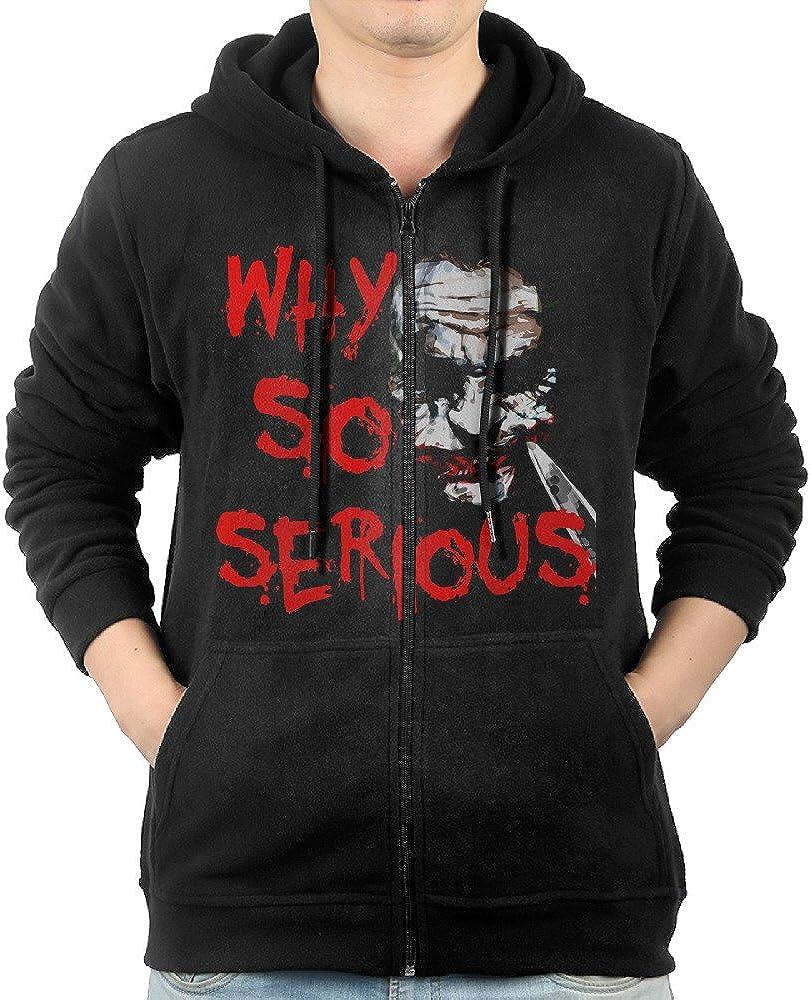 HOHOWHO Mens Why So Serious The Joker The Dark Knignt Hoodie Full Zip Cotton Sweatshirt