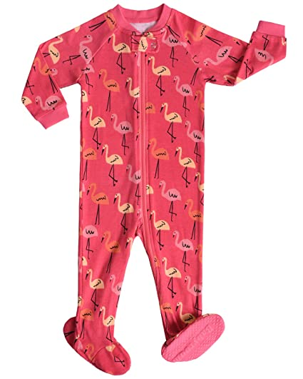 16f07d4cb6 Amazon.com  Little and Baby Girls Footed Flamingo Pajamas Sleeper 100%  Cotton Size 2T  Clothing
