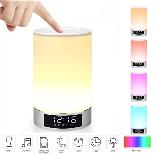Mabor Bedside Lamp, Bluetooth Speaker Multicolor Dimmable Touch Lamp Night Light with Alarm Clock