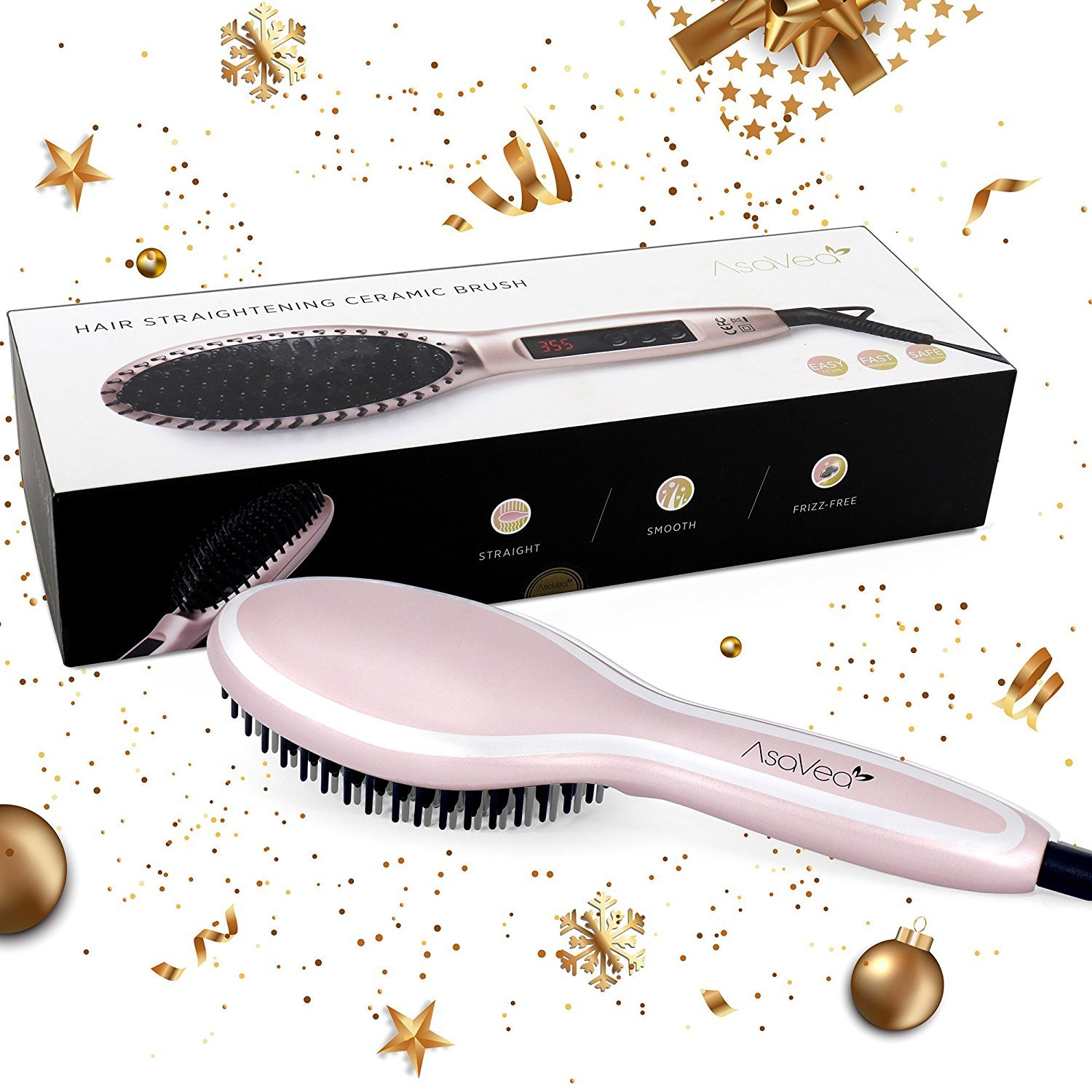 AsaVea Hair Straightener Brush 3.0: MCH Heating Technology and Auto Temperature Lock, Anti-Scald Design - The Best Gift Choice (Rose Gold) by AsaVea (Image #3)