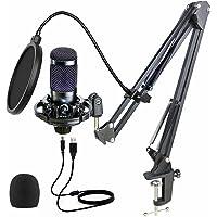 Kit de micrófono condensador USB, micrófono de condensador cardioide profesional de 192 kHz/24 bits, con soporte de…