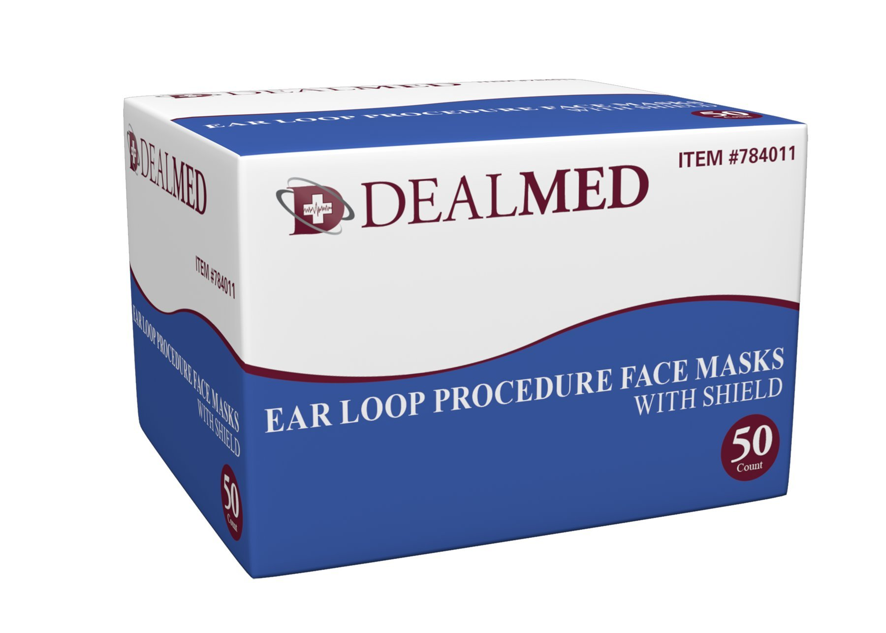 Procedure Face Mask with Eye Sheild, Non-Sterile, Anti-Fog, Single Use, Latex Free, with Ear Loops, Blue, 50 Per Box - Dealmed Brand