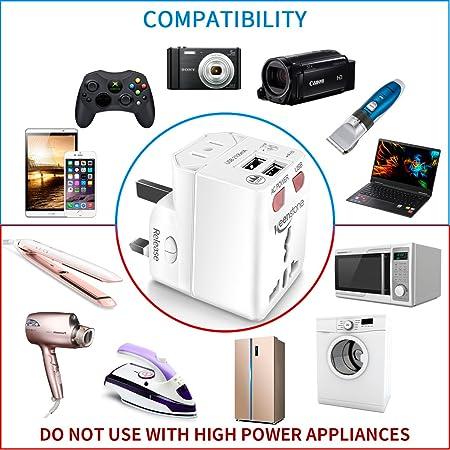 Keenstone 2PCS Adaptador Universal de Viaje, Adaptador de Enchufe Internacional con Dual USB Puertos para US EU UK AU, Indicador de LED Luz para Aclarar El ...