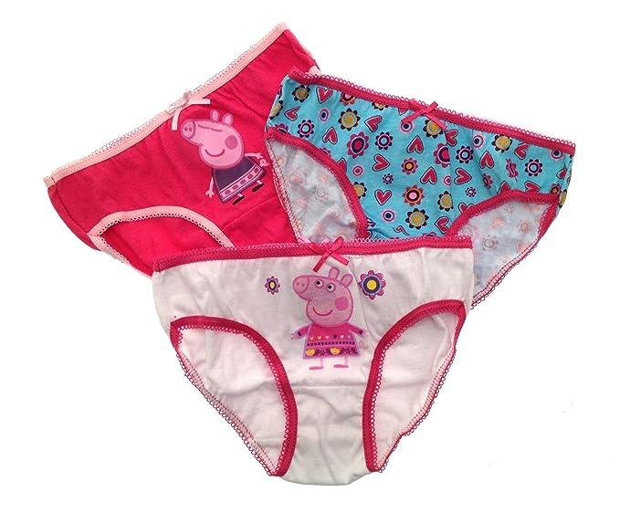 3 Pack niñas Disney de Peppa Pig Slips Ropa Interior Pantalones blanco blanco 2-3
