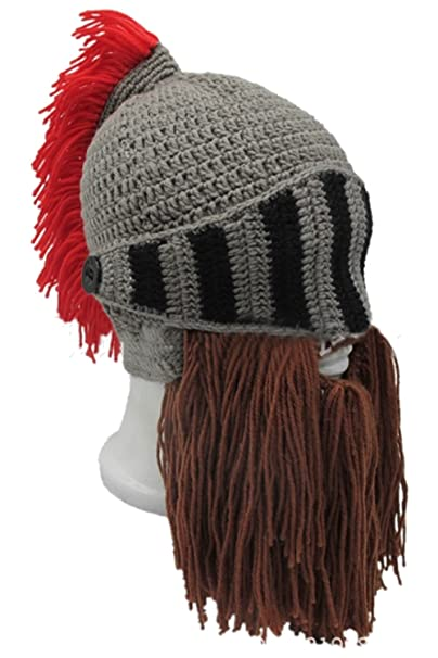 5d86be5e35c Amazon.com  Paniclub Red Tassel Roman Cosplay Knight Helmet Visor Beanie  Knit Hat Cap Grey  Clothing
