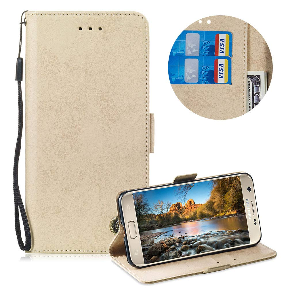 Moiky Clapet Coque pour Samsung Galaxy S7,Corde É tui pour Samsung Galaxy S7, Ré tro Classique Gold Solide Couleur Portefeuille PU Cuir Magné tique Supporter Coque avec Flex Soft TPU Corde Étui pour Samsung Galaxy S7