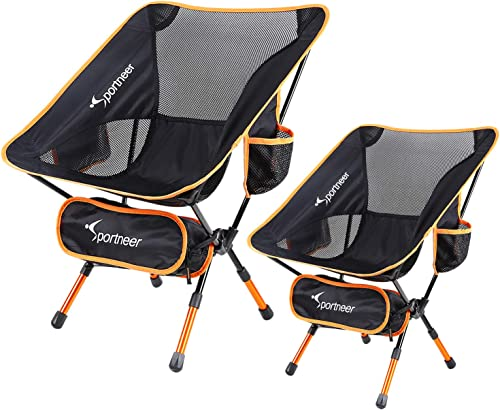 Sportneer Camping Chair, Ultralight Portable Folding Backpacking Chair, Compact and Heavy Duty Outdoors, BBQ, Beach, Travel, Picnic with Storage Bags and Carry Bag, Height Adjustable