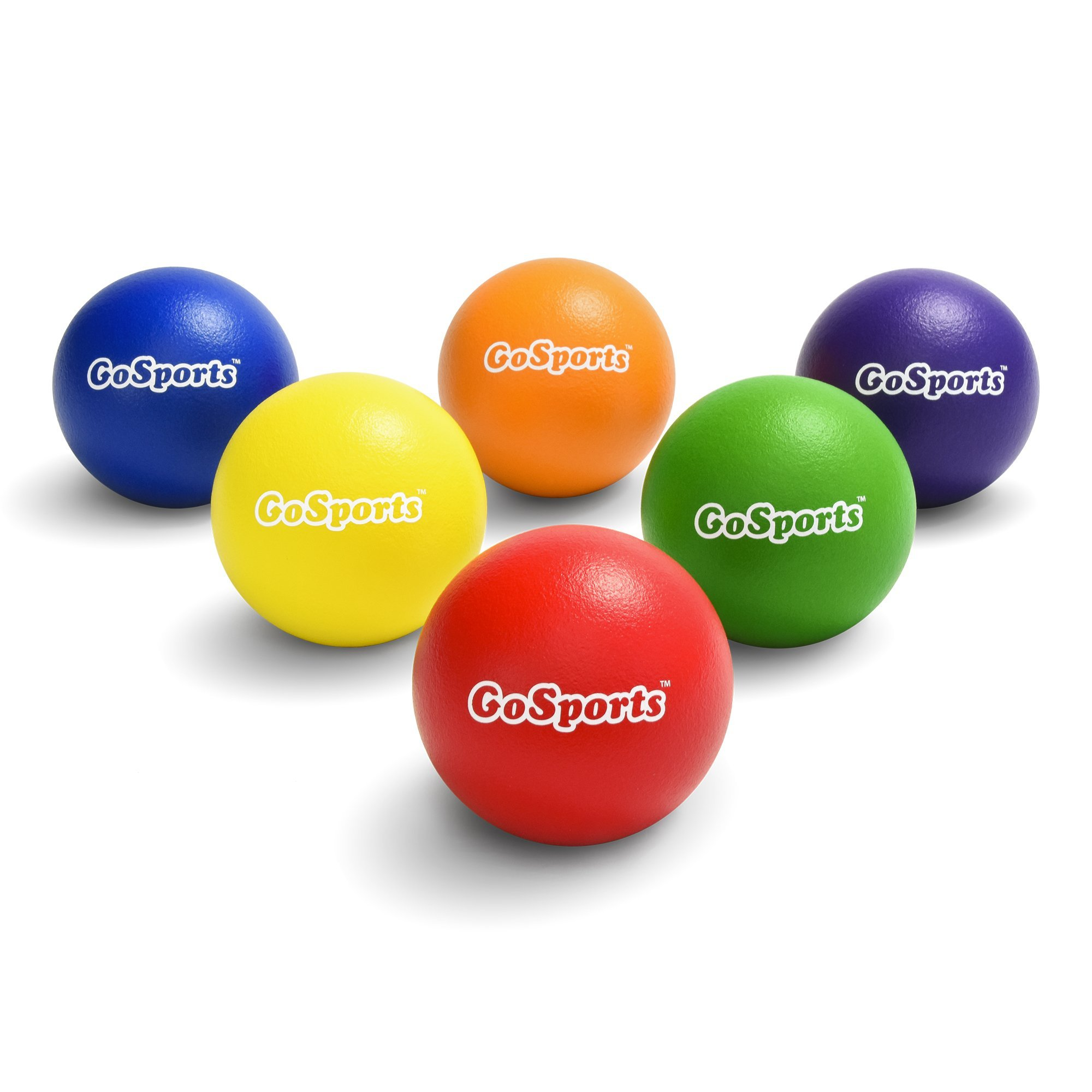 GoSports Strong Skin Foam Playground Dodgeballs - 6 Pack for Kids (6 in) & Adults (7 in) - w/Mesh Carry Bag by GoSports