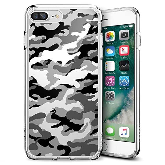 wholesale dealer fca09 97e16 Black White Camouflage iPhone 7 Plus 8 Plus Case Clear Milostar Design TPU  Clear Protective Shock-Proof Cover, Case iPhone 7 Plus 8 Plus Black White  ...