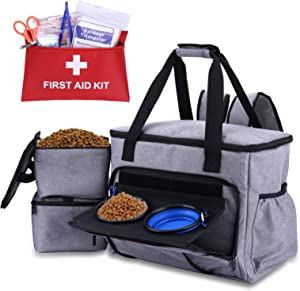 Kuyang Dog Travel Bag, Dog Traveling Luggage Organizer for Dog Accessories, Includes Pet First Aid Kit, Elevated Bowl Stand, 2 Food Storage Containers, 2 Collapsible Dog Bowls, Multiple Pouches