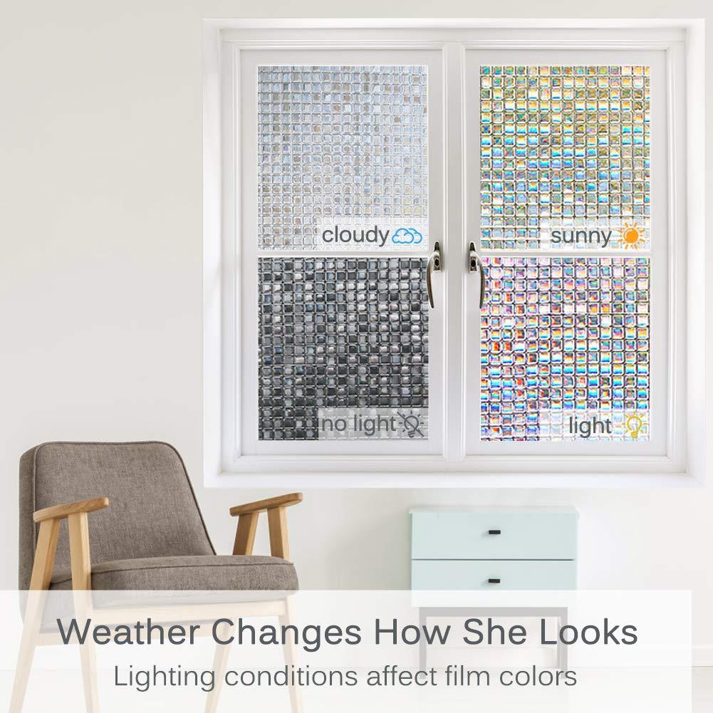 Volcanics Privacy Window Film Decorative Window Cling Glass Film Reflective 3D Window Film 44.5 x 300CM Non-Adhesive Window Stickers Static Cling Window Covering