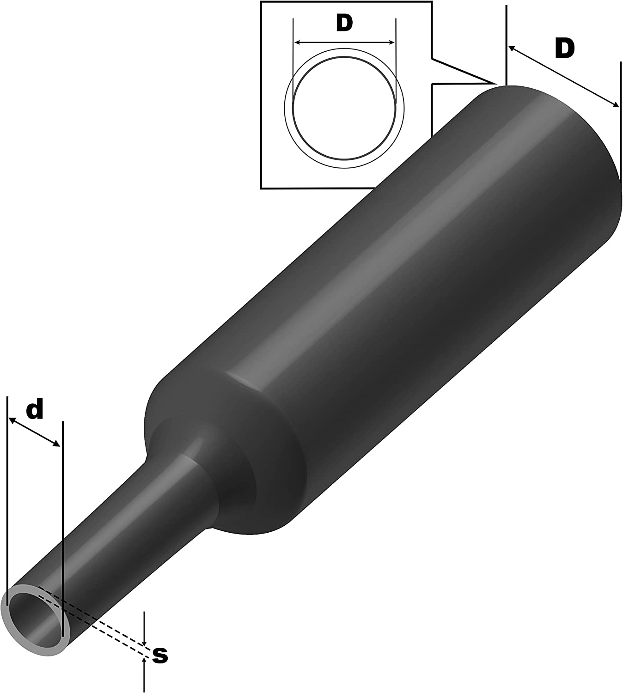 ISOLATECH/® Gaine thermor/étractable 2:1/noir S/électionen 12/tailles et 5/longueurs M/ètre ici: /Ø 35mm//–/Longueur: 20ft 6/M/ètre