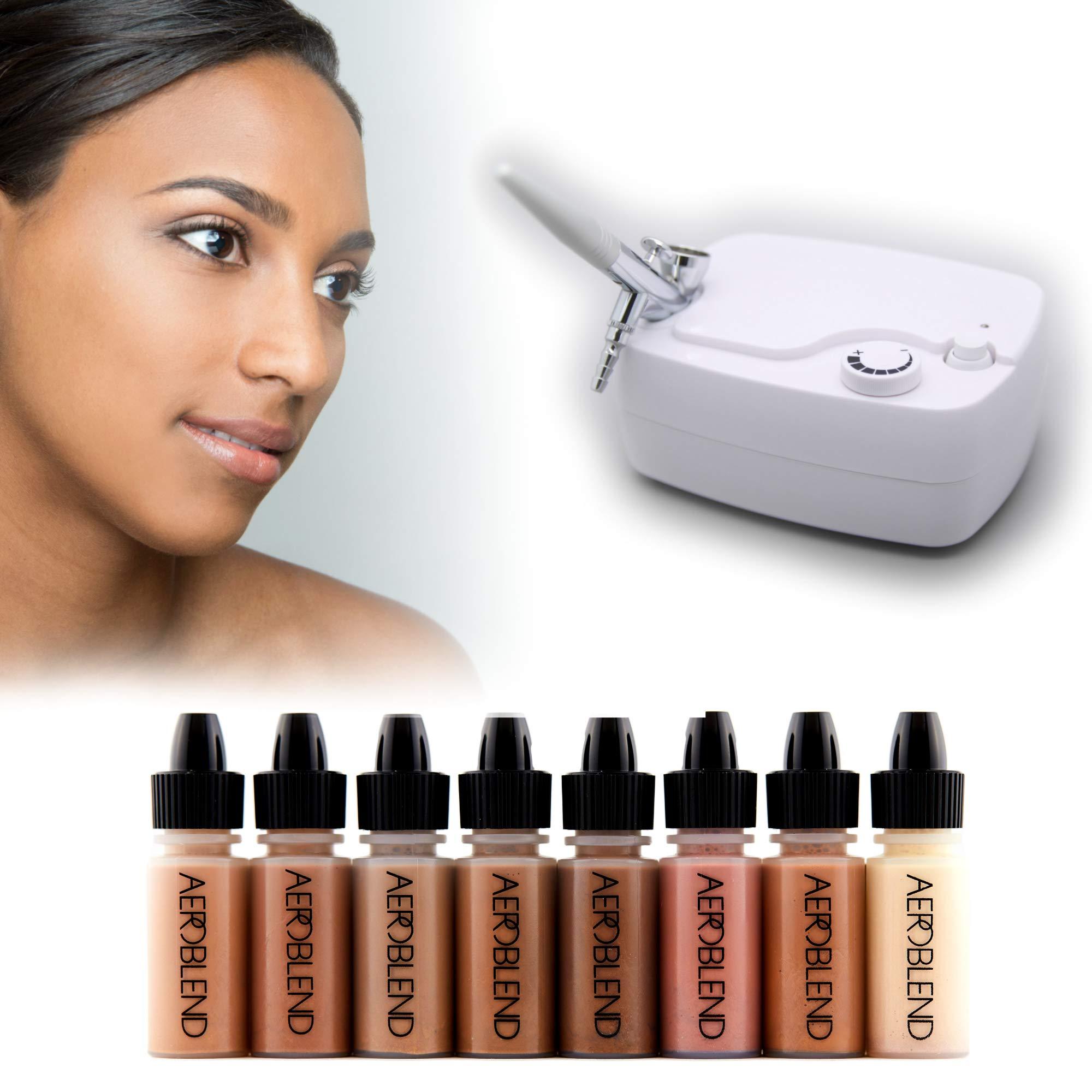 Aeroblend Airbrush Makeup Personal Starter Kit - Professional Cosmetic Airbrush Makeup System - DARK Foundation - Color Match Guarantee