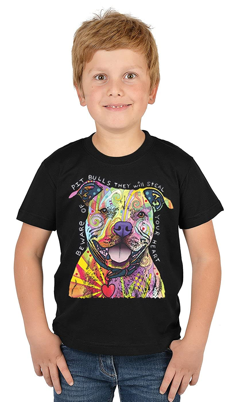tolles Geschenk Pitbull//Motiv-Jungen-Shirt//Kinder-Shirt mit Hunde-Druck Cooler Look//kr/äftige Farben Beware of Pit Bulls
