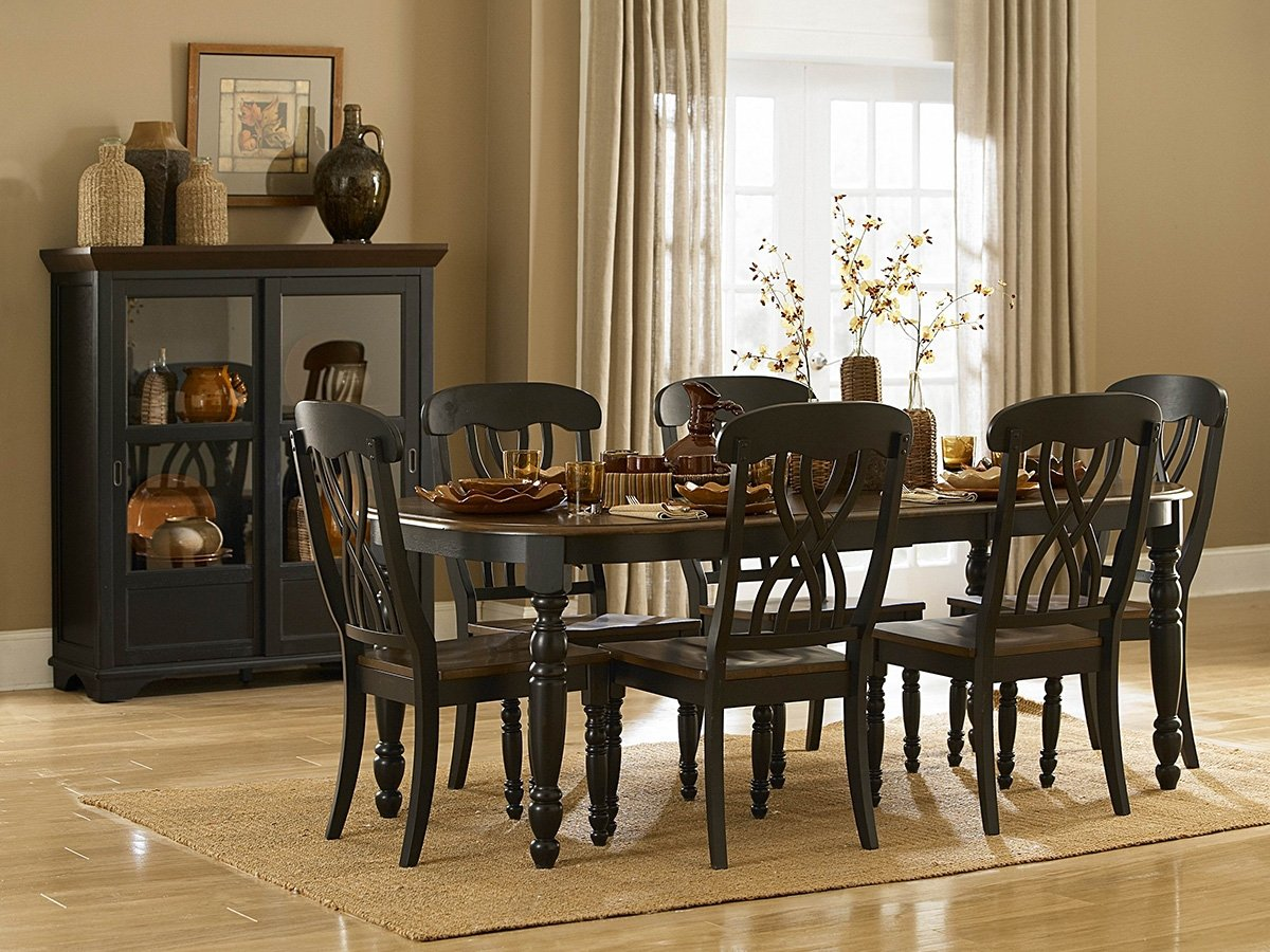 amazon com homelegance ohana 7 piece dining table set in black