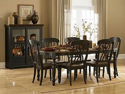Amazon Com Homelegance Ohana 7 Piece Dining Table Set In Black