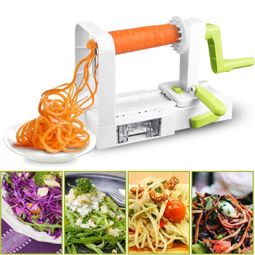 Coupe-Légumes Spirale de légumes avec 5 lames, Trancheuse à Spirale, Découpe-légumes facile à utiliser pour transformer vos fruits et légumes en spirales, juliennes, spaghettis, nouilles, rubans ou vermicelles