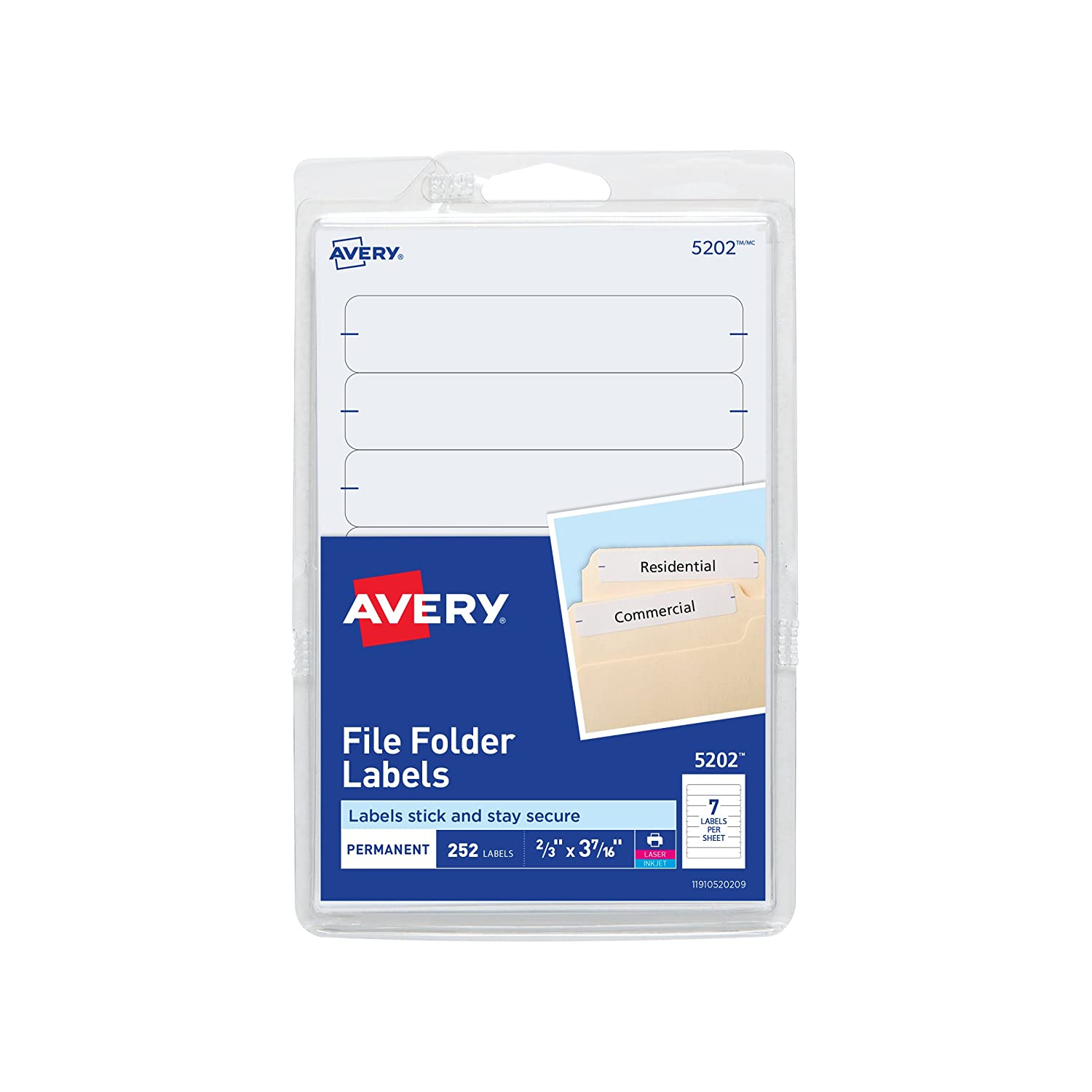Avery Print or Write File Folder Label -0.69-Inch Width x 3.44-Inch Length -252/Pack -Dark Blue 05200