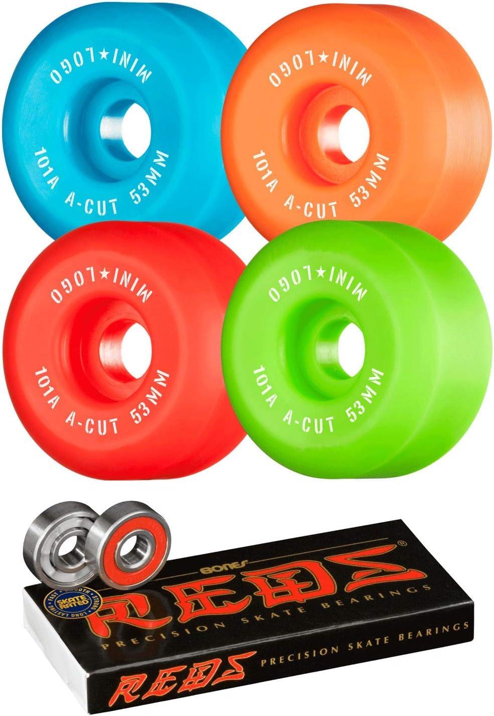 Mini-Logo Skateboard Wheels 53mm A-Cut 101A Assorted with Bones Reds Bearings