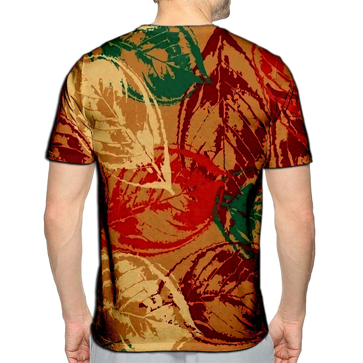 3D Printed T-Shirts Grunge with Colorful Leaves On Warm Short Sleeve Tops Tees