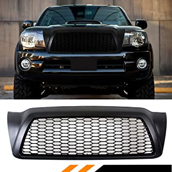 Black Vertical Front Hood Bumper Grill Grille ABS For 05-11 Toyota Tacoma
