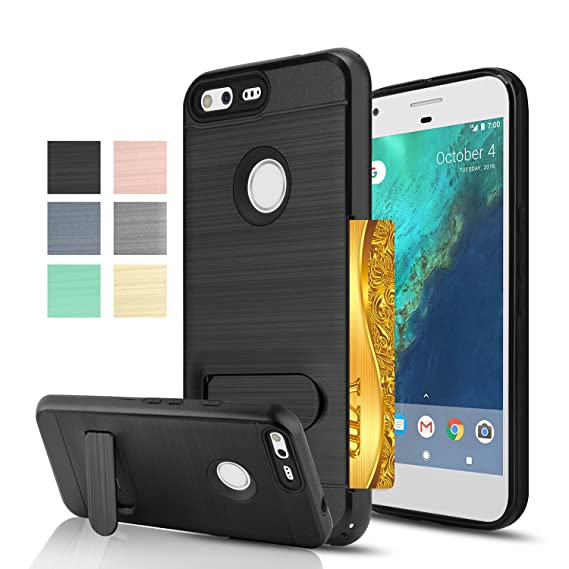 reputable site 1d450 6a6ca Google Pixel Case, AnoKe [Credit Card Slots Holder][Not Wallet] Kickstand  Hard Plastic PC TPU Soft Hybrid Shockproof Heavy Duty Protective Holster  For ...