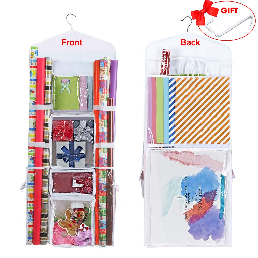 ProPik Hanging Double Sided Wrapping Paper Storage Organizer with Multiple Front and Back Pockets Organize Your Gift Wrap & Gift Bags Bows Ribbons 40''X17 Fits 40 Inch Rolls (White) by ProPik