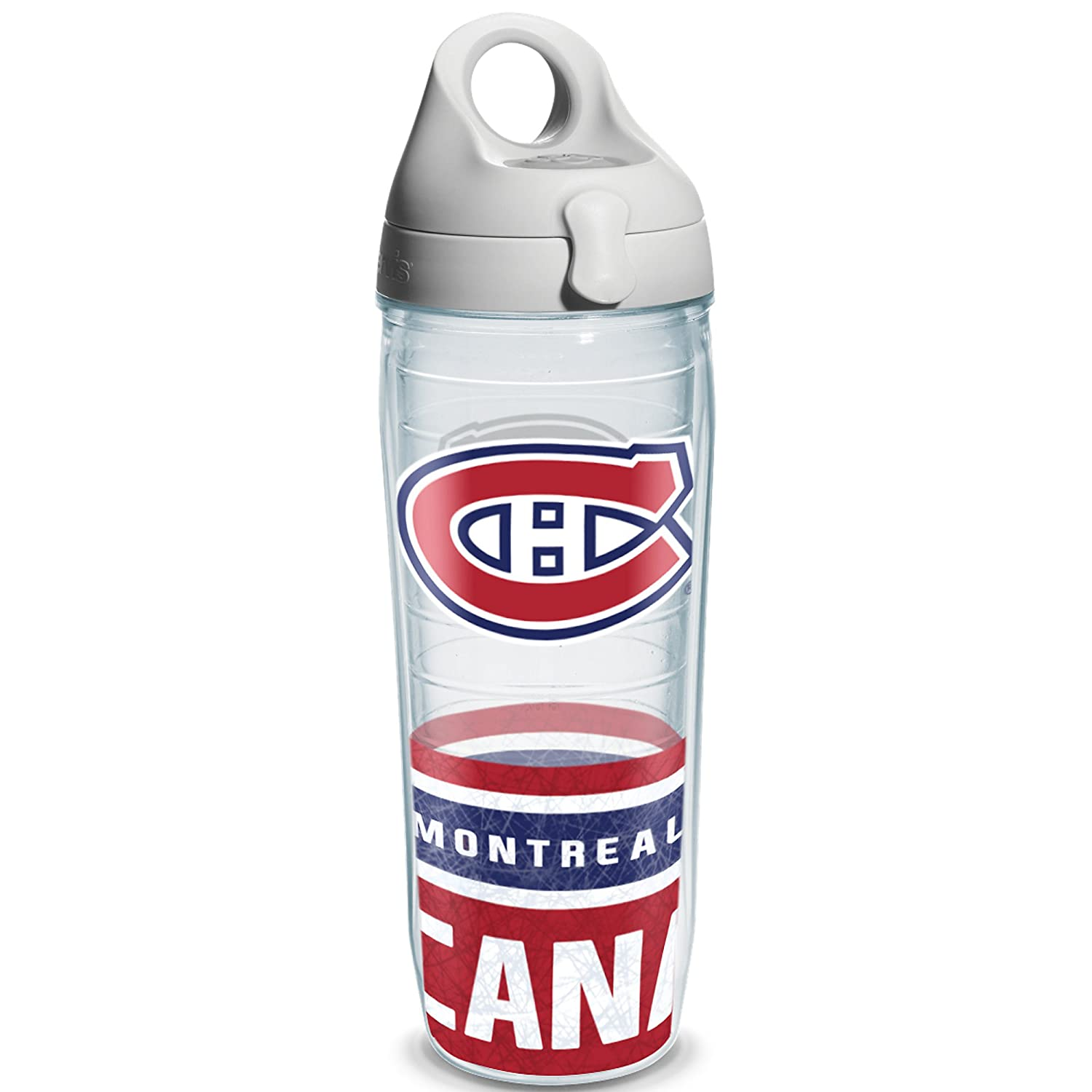 Tervis 1145516 NHL Montreal Canadiens Water Bottle with Grau Lid, Wrap, 24 oz, Clear by Tervis