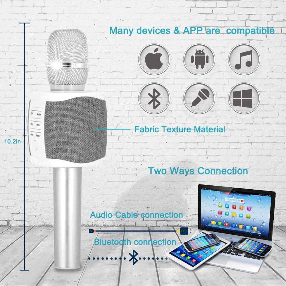 Tosing Top Birthday Gifts for Teens, Wireless Karaoke Microphone with Louder Speaker, 4 in 1 Bluetooth Handheld Karaoke Mic Machine for Singing, KTV Party Toys Presents for Kids Girls Teenagers Adults by TOSING (Image #4)