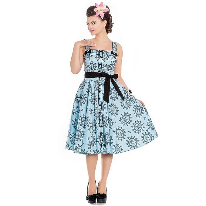 Hell Bunny Marinera Azul Náutico 1950s Vintage Retro Rockabilly Pin-Up Vestido - Azul Pastel