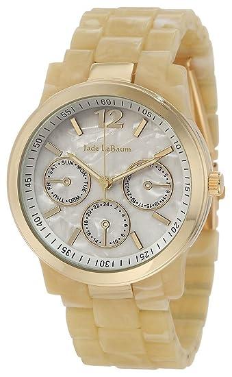 Reloj de Mujer con Pulsera Color Hueso y Carcasa en Tono Dorado Inspirado en Jade LeBaum - JB202741G: Amazon.es: Relojes