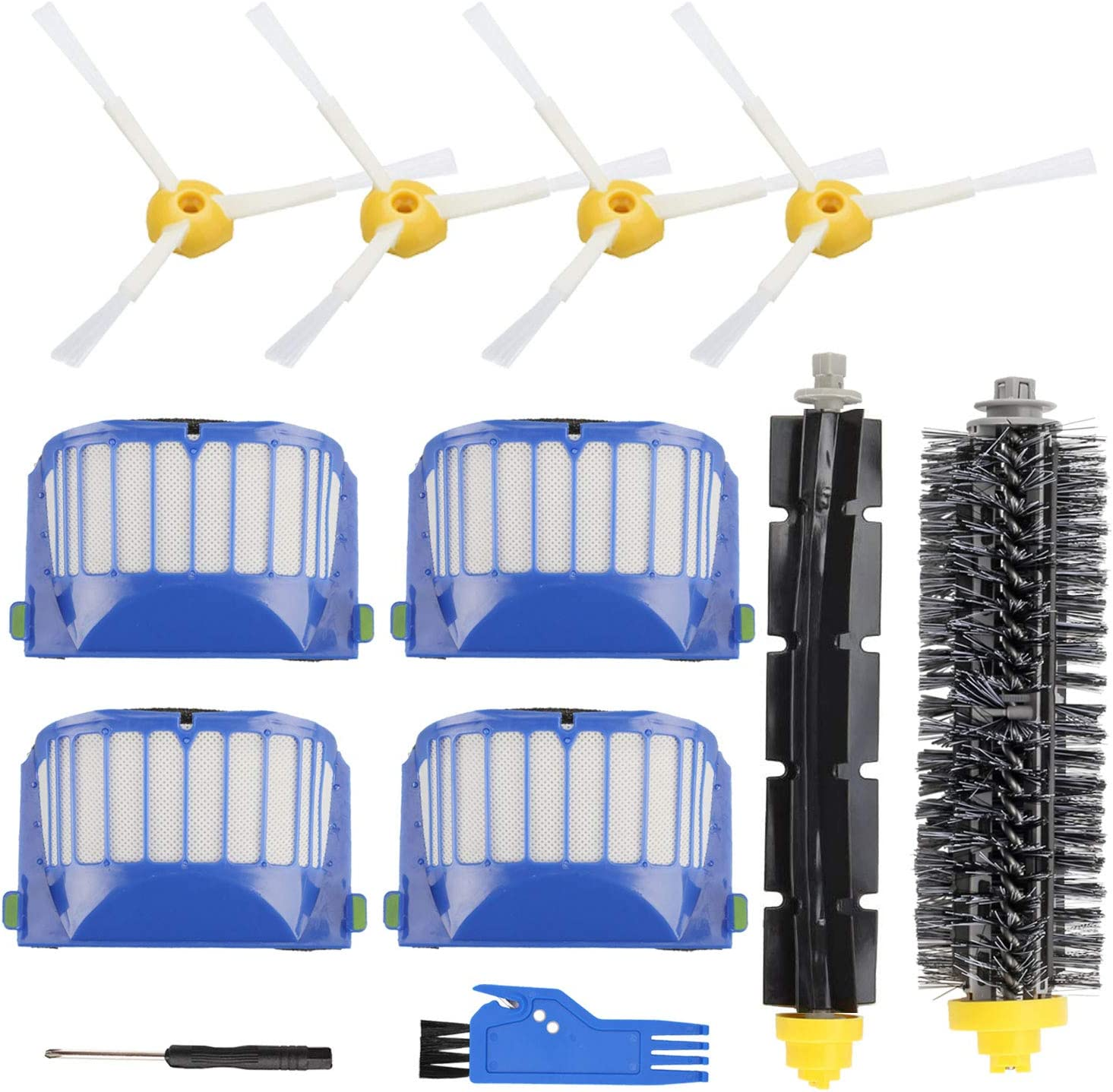 Replacement Parts Accessory for iRobot Roomba 600 500 Series 695 690 680 660 651 650 630 620 614 610 595 585 564 552 Vacuum Cleaner Replenishment Kit, 4 Filter 4 Side Brush 1 Bristle & 1 Beater Brush