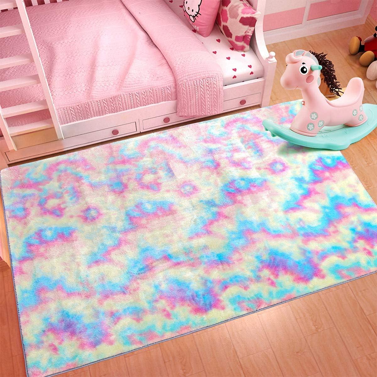 Maxsoft Furry Kids Rainbow Rugs, Colorful Area Rug for Girls Bedroom, Nursery, Play Room, Fuzzy Carpet for Living Room, Home Decor (3x5 Feet)