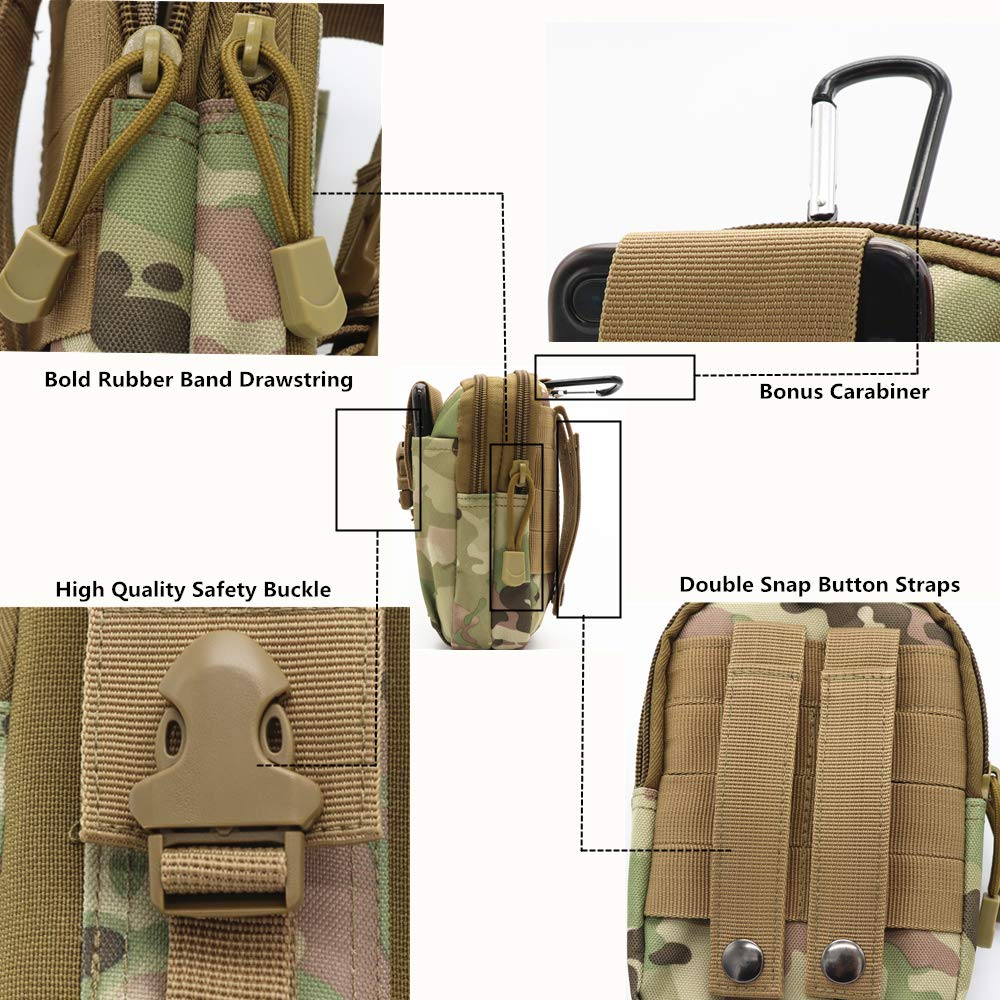8Bees Tactical Molle Pouch Multi-Purpose Compact EDC Utility Gadget Belt Waterproof Nylon Camo Bag
