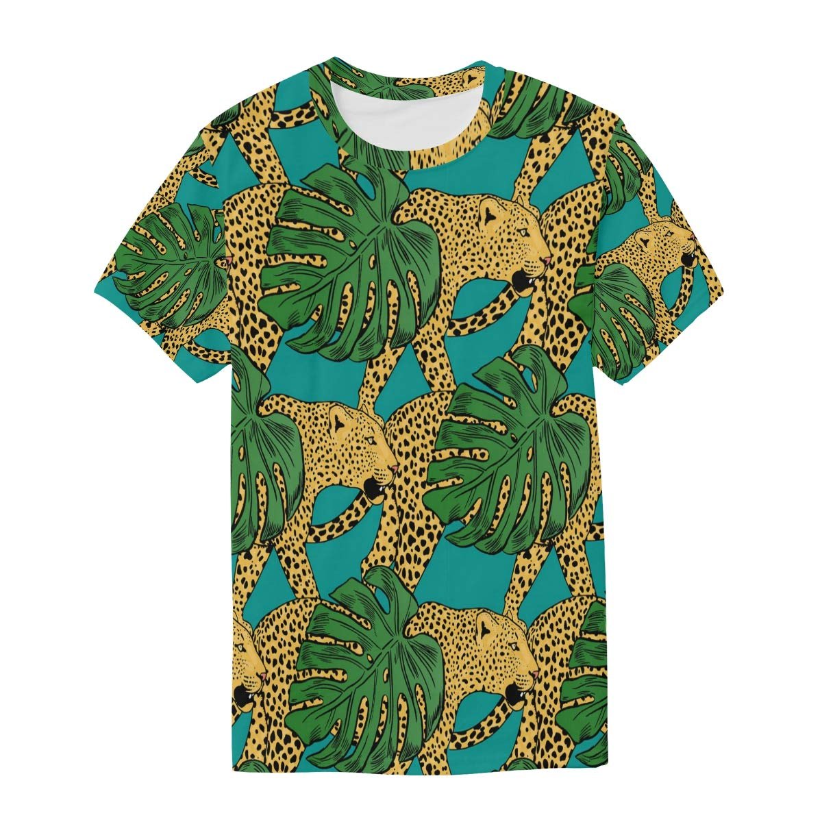 Leopard in The Jungle Mens T Shirts Graphic Funny Body Print Short T-Shirt Unisex Pullover Blouse