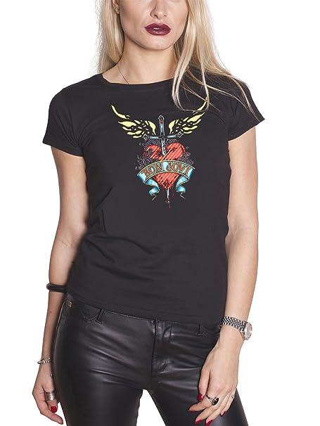 Da Heartamp; Shirt Band Bon Dagger Nuovo T Logo Ufficiale Donna Jovi nwOP8k0
