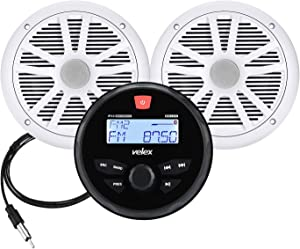 Marine Audio System Stereo Speaker Package, Bluetooth, MP3 USB AM FM Marine Stereo - 2 x 6.5 Inch White Speakers, Antenna