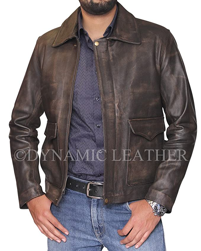 Men's Vintage Style Coats and Jackets Indiana Jones Distressed-Brown Genuine Cowhide Skin Leather Jacket $215.00 AT vintagedancer.com