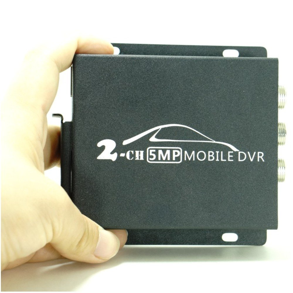 Pomiacam 2CH Mini AHD DVR Mobile DVR HD 1080P 2 Channel SD DVR with Dual SD Card Slot Support 128GB/CVBS/AHD 5.0MP Mini Vehicle DVR for Truck Taxi Car with Remote Control