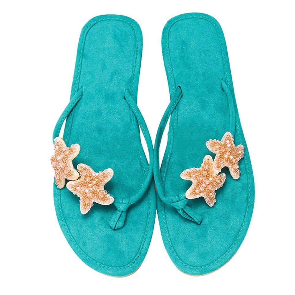 Women's Starfish Green Casual Beach Seaside Flip-Flop Sandals - DeluxeAdultCostumes.com