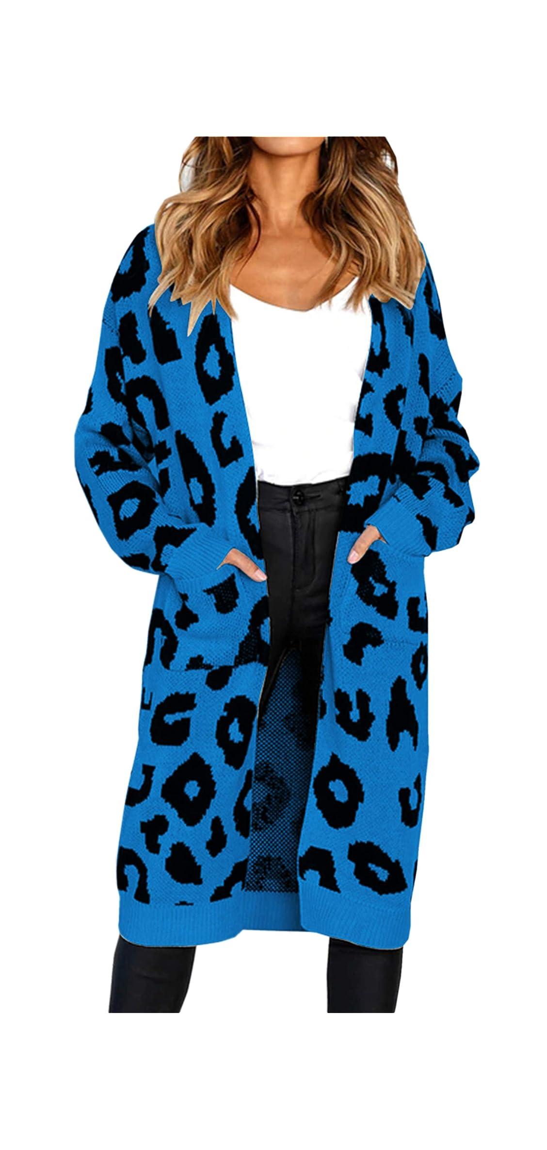 Women's Long Sleeves Leopard Print Knitting Cardigan