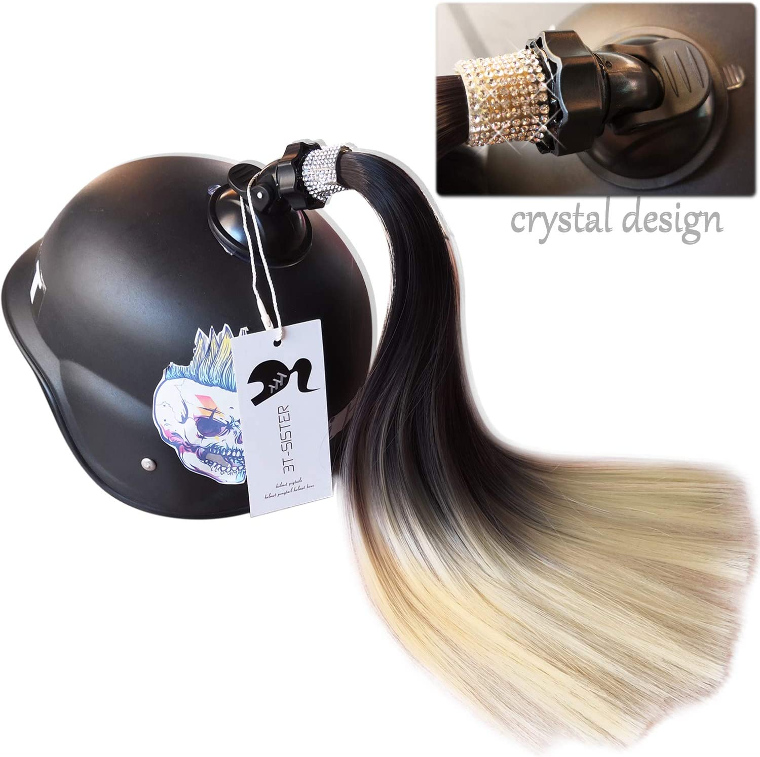 3T-SISTER Crystal Helmet Pigtails 14inch Helmet Ponytail Decoration for Motorcycle Bicycle Ski Helmet Accessories Reusable Suction Cup Rhinestone Design
