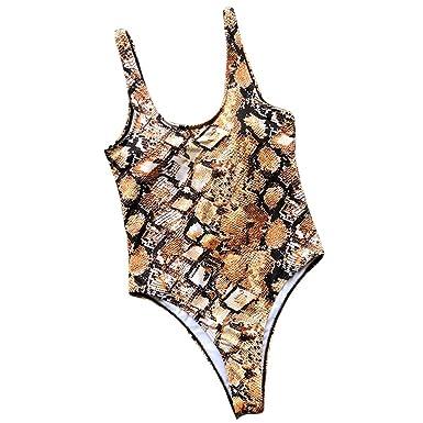 0fb359f1e7 Highpot Women Sexy High Cut Snakeskin Print Swimsuit U Back Pad One Piece  Bikini at Amazon Women's Clothing store:
