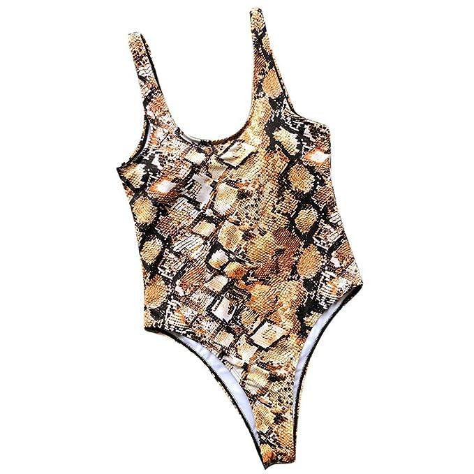 Lonshell Traje de baño Mujer Bikini 2019 Primavera Verano Sexy Leopardo Serpiente de una Pieza con Sujetador con Relleno Push up Bañador Ropa de Playa: ...