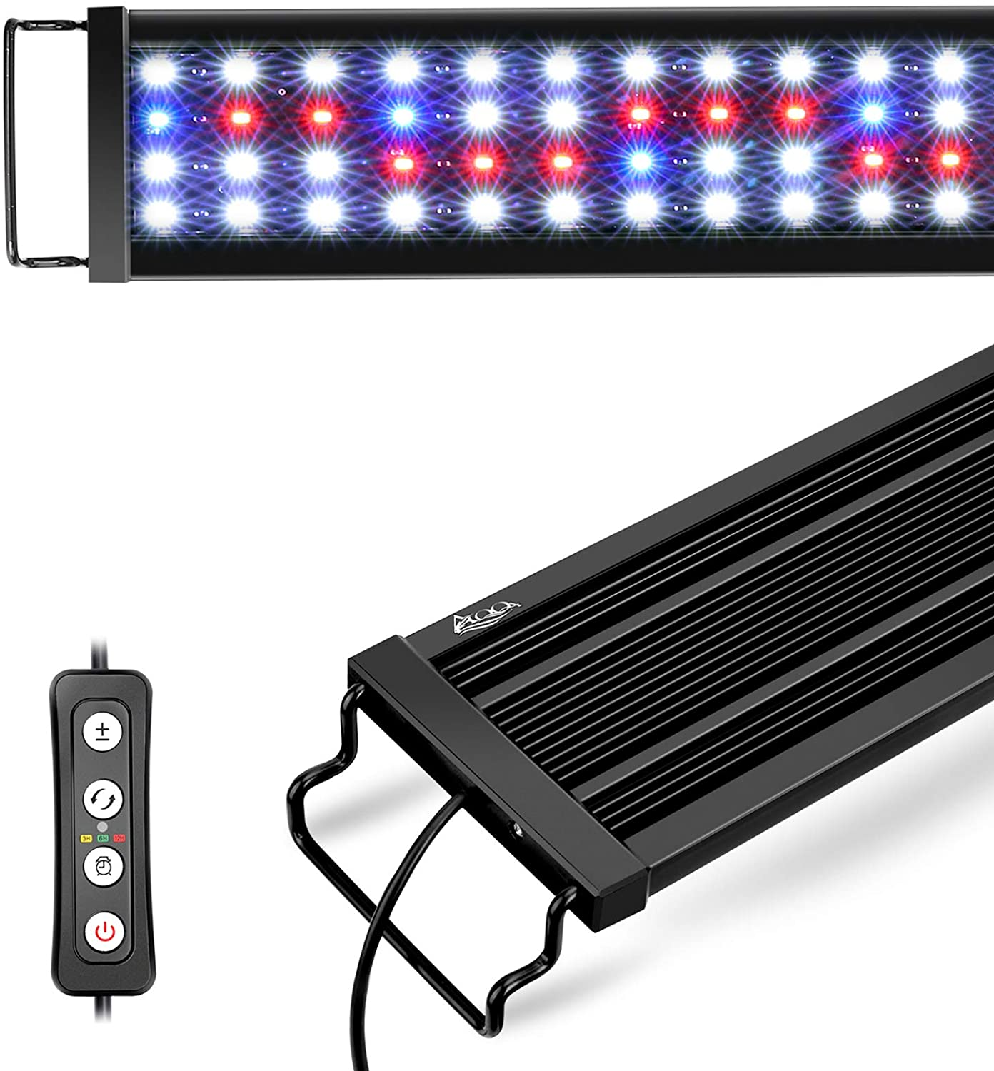 """Waterproof Full Spectrum Fish Tank Light with Timer Controller White /& Blue /&Red Light for Freshwater Planted Tank 18W Extendable Brackets AQQA 11W-45W Aquarium LED Lights 17/""""-24/"""""""