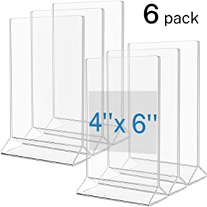 MaxGear Acrylic Sign Holder-Table Card Display-4 X 6 inches Clear Sign Display Holder-Plastic Table Menu Stand -Double Sided Ad Picture Frame for Office, Home, Store, Restaurant, 6 Pack