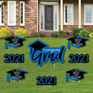 product image for Big Dot of Happiness Blue Grad - Best is Yet to Come - Yard Sign and Outdoor Lawn Decorations - Royal Blue 2021 Graduation Party Yard Signs - Set of 8