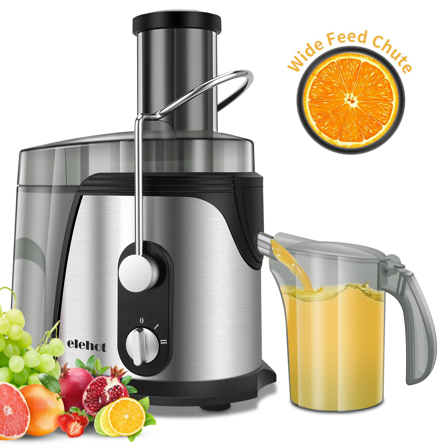 ELEHOT Juicer Juice Extractor 700 Watt Wide Mouth Stainless Steel Dual Speed Centrifugal Juicer for Fruits & Vegetable