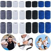 Sportarmband,Mengger elastische atletische katoenen zweetband Polsbanden voor voetbal Basketbal Tennis Squash Badminton…